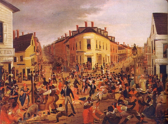 The Five Points district of lower Manhattan, painted by George Catlin in 1827. New York's first free Black settlement, it became a mixed-race slum, home to Blacks and Irish alike, and a focal point for the stormy collective life of the new working class. Cops were invented to gain control over neighborhoods and populations like this.